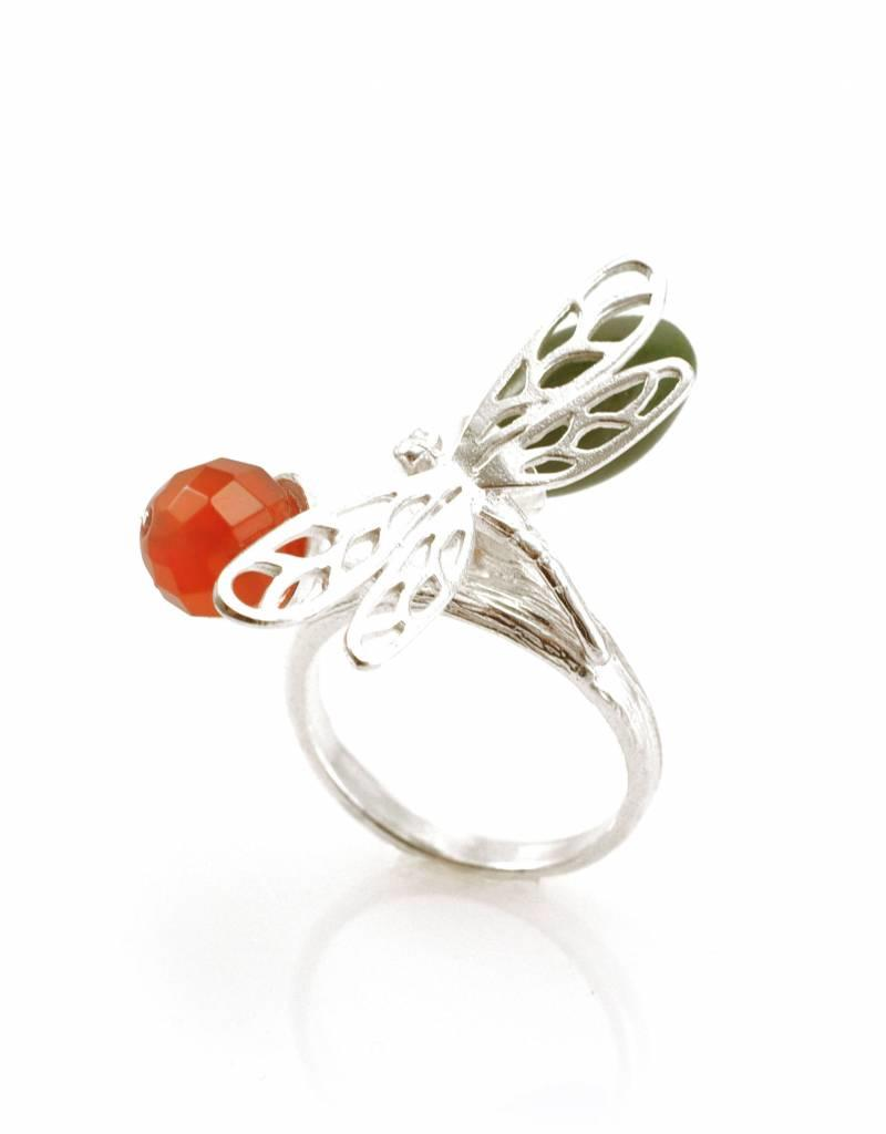 Ring libelle - zilver