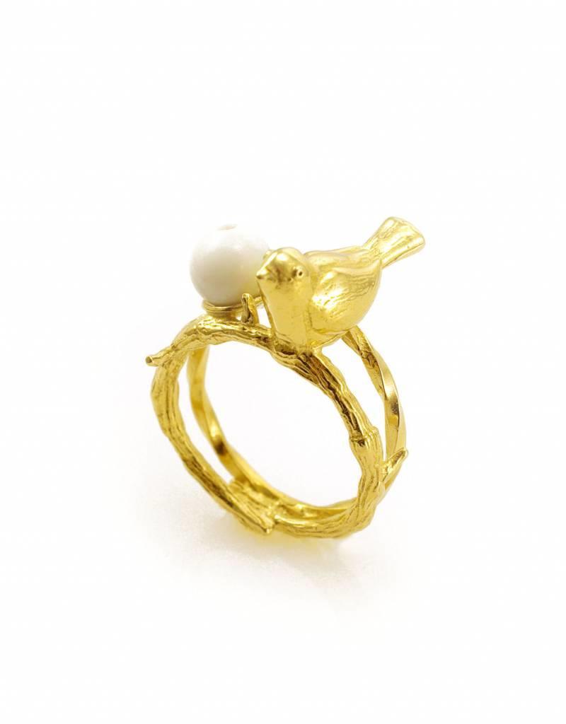 Ring vogel op tak - goud
