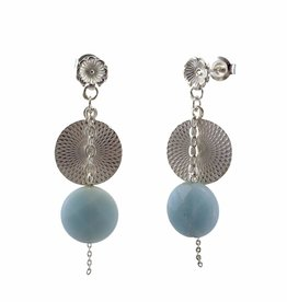 Post earrings pendant disc & amazonite