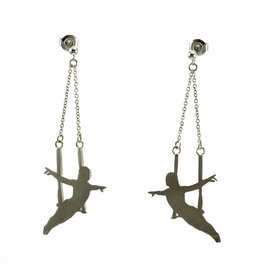 Post earrings pendant trapeze artist