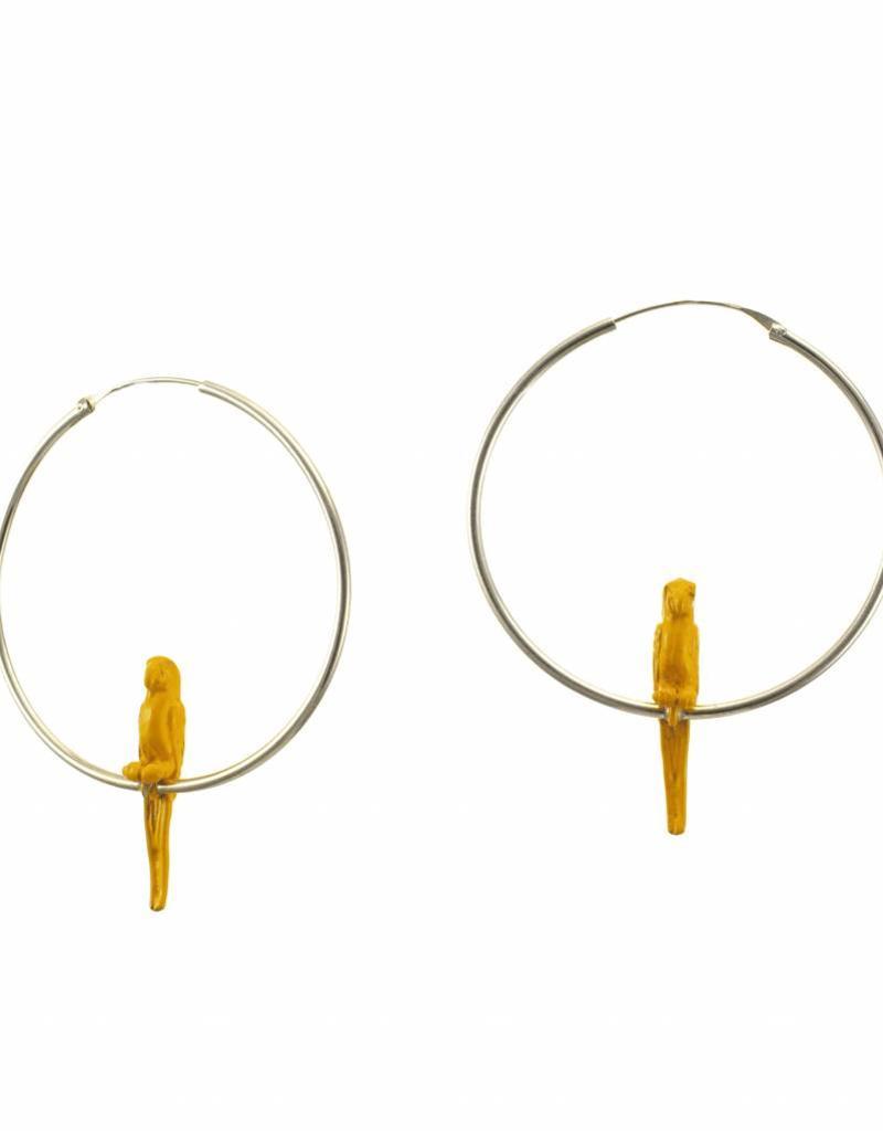 Rebels & Icons Hoop earrings parrot - yellow + silver hoops