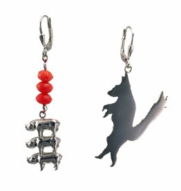 Oorbellen 3 biggetjes & boze wolf