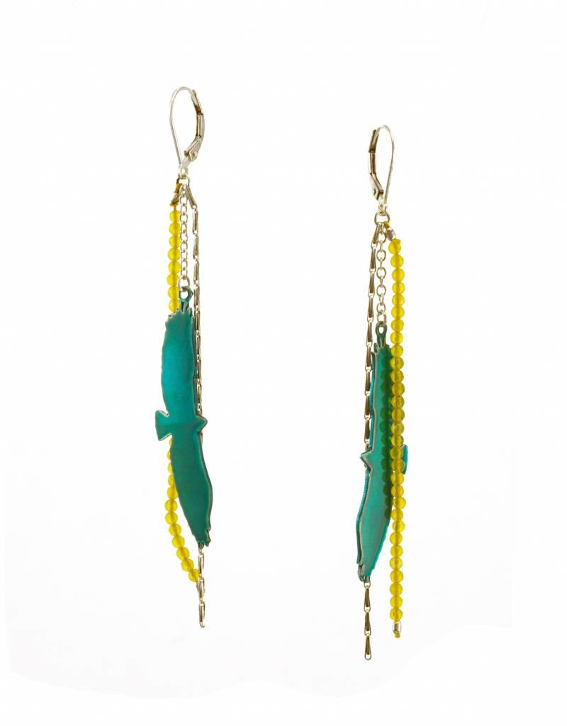 Rebels & Icons Leverbacks eagle - candy teal + silver earrings