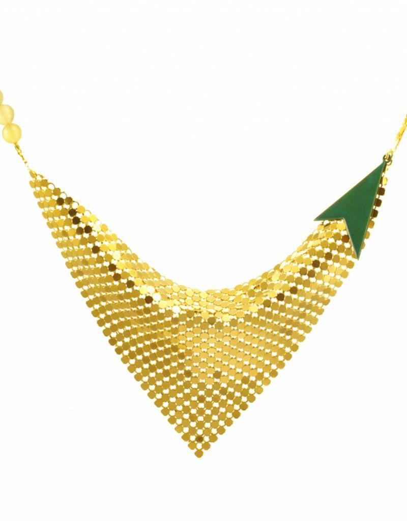 Korte ketting mesh - goud + transparant teal