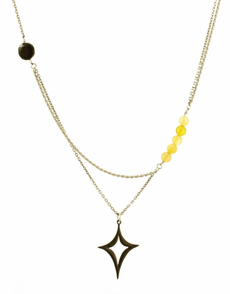 Rebels & Icons Samengestelde ketting diamantvorm - zilver + oranje