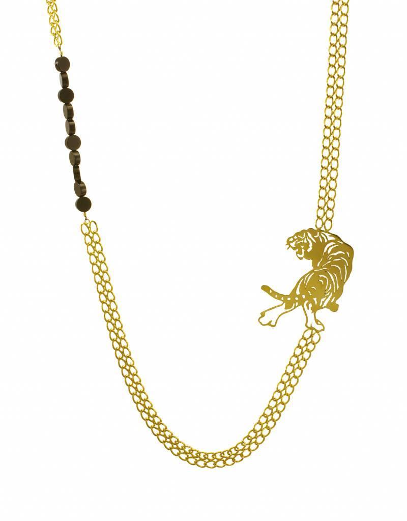 Lange ketting tijger - goud