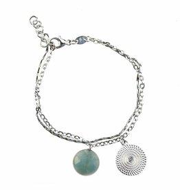 Bracelet disc & amazonite