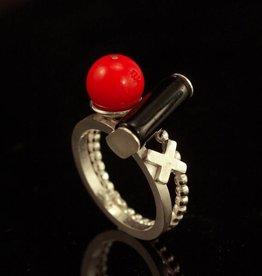 Rebels & Icons Ring kruis, cilinder en bol