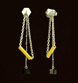 Post earrings pendant hexagon