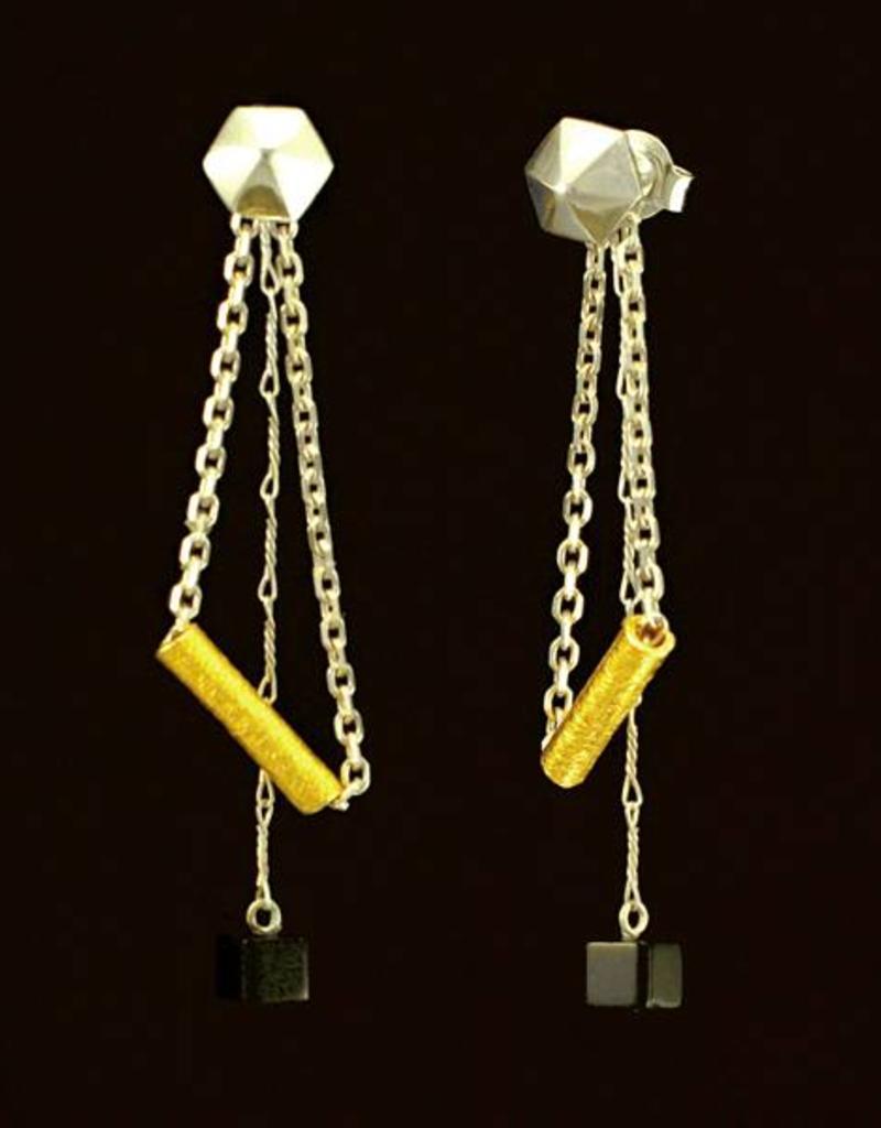 Rebels & Icons Post earrings pendant hexagon - mixed