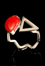 Ring cabochon en driehoek - zilver