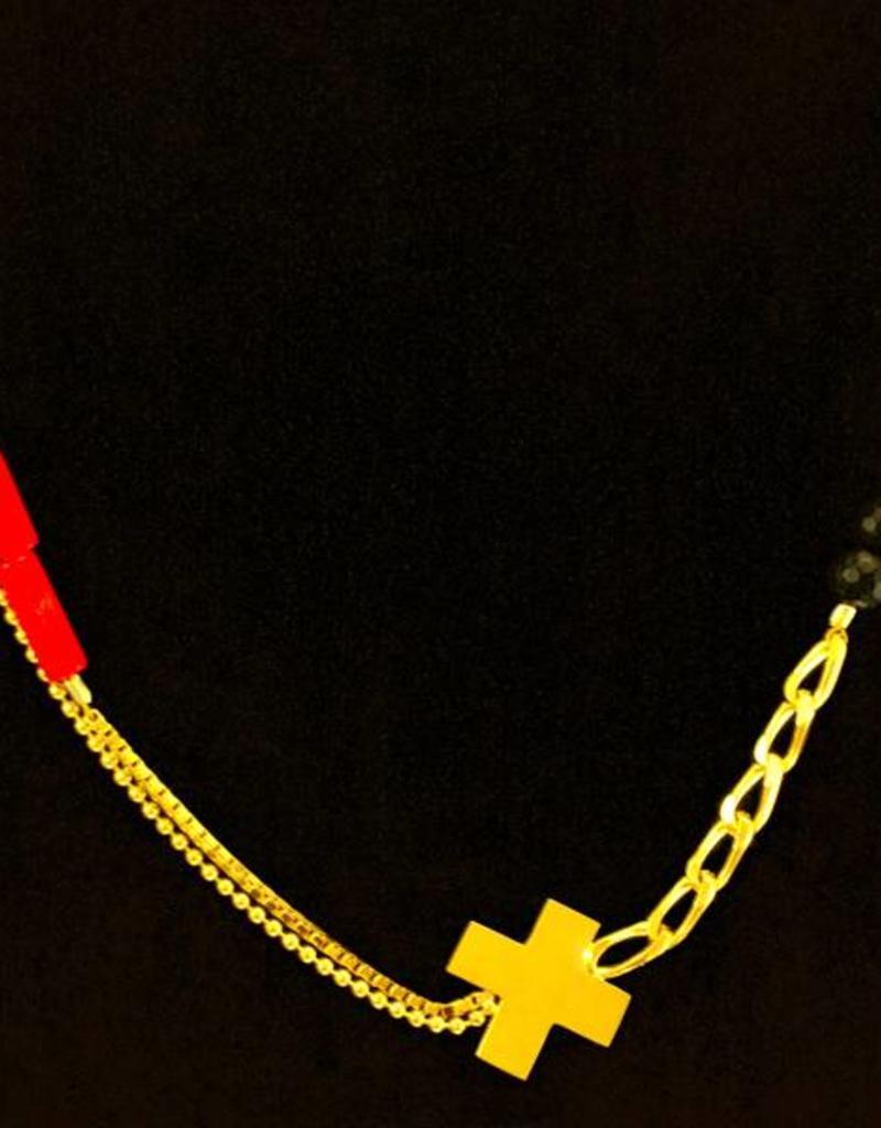 Korte ketting kruis - goud