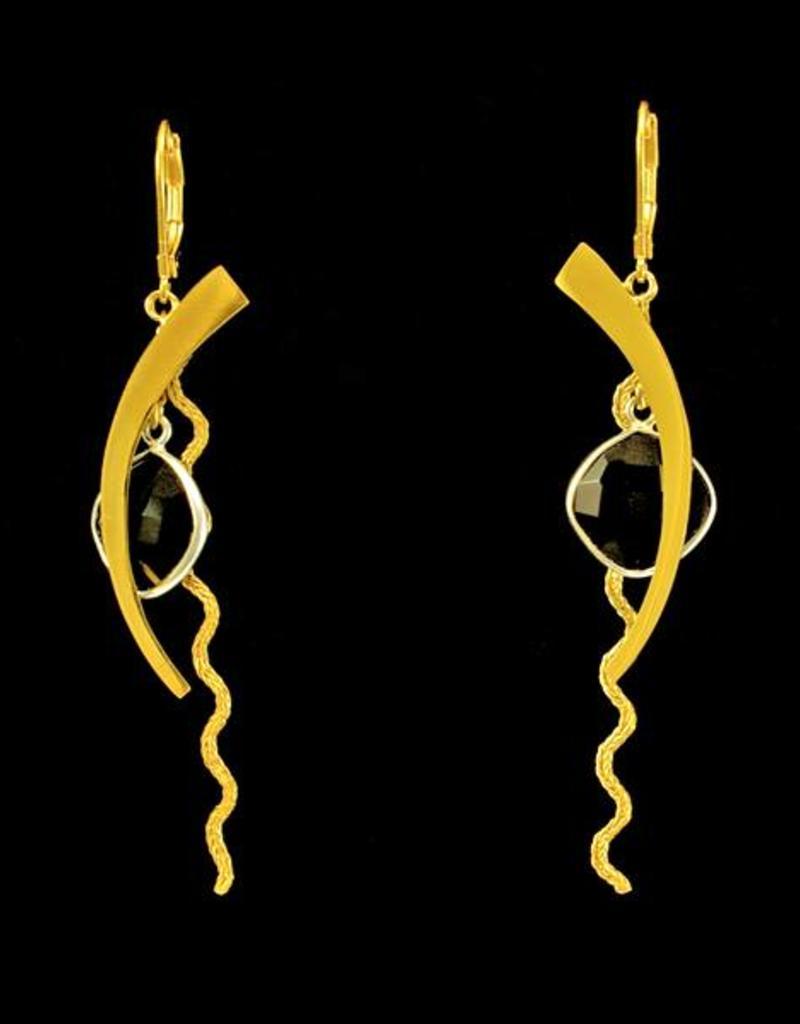 Rebels & Icons Earrings circle segment and onyx - mixed