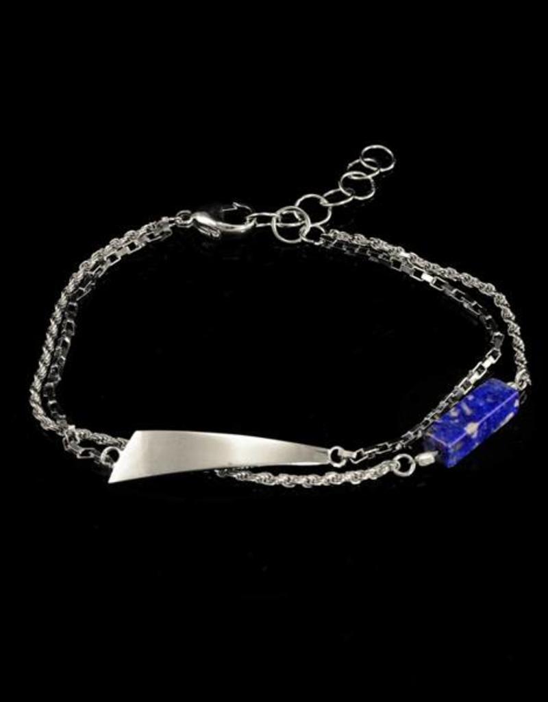 Armband trapezium en lapis - zilver