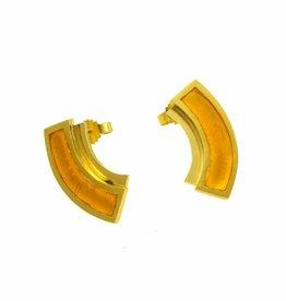 Post earrings circle segment