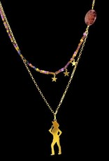 Rebels & Icons Necklace shooting cowgirl - gold