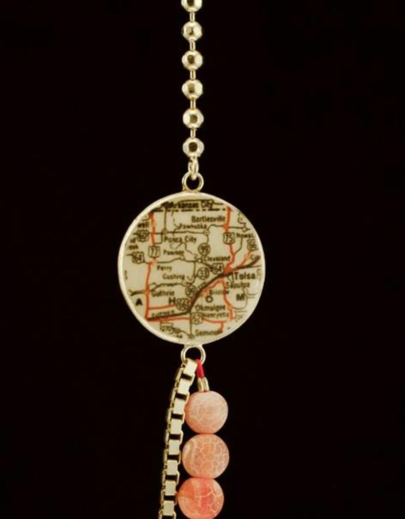 Lange ketting Route 66 - zilver