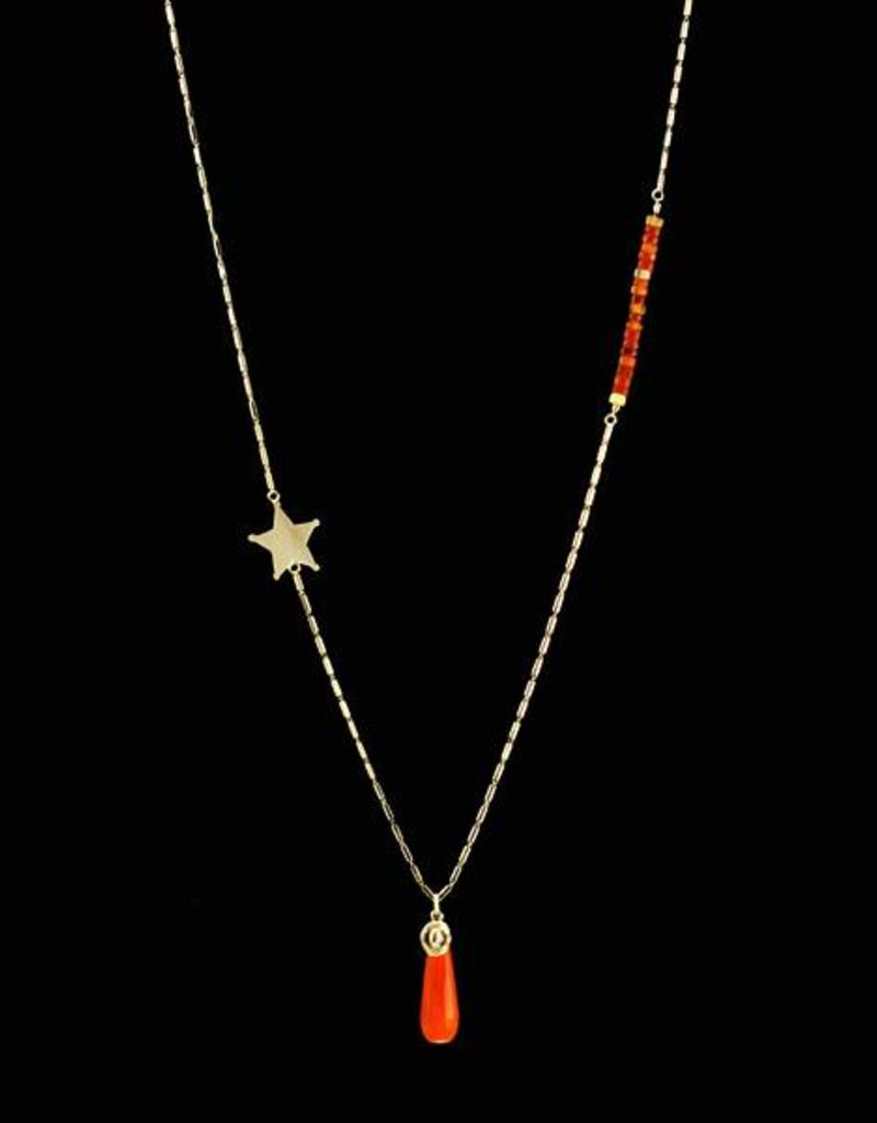 Rebels & Icons Necklace sheriff's star & hat - silver