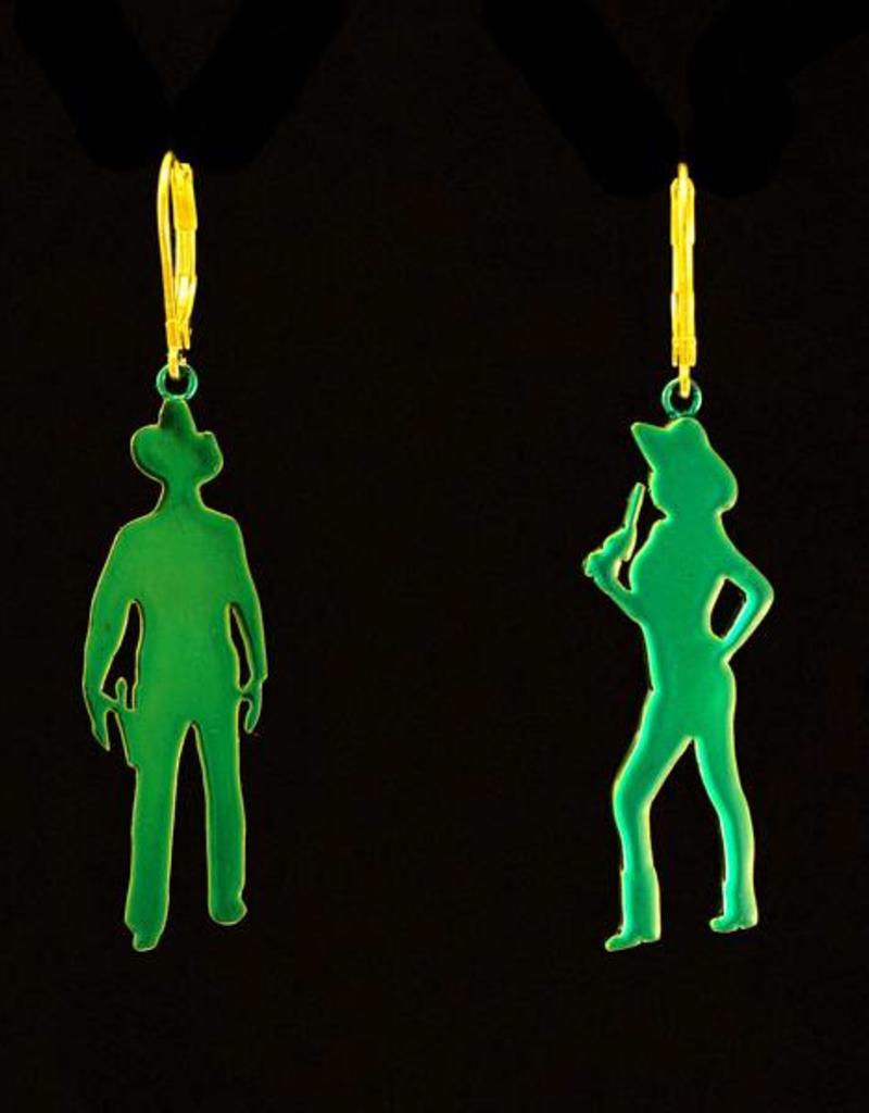 Oorbellen schietende cowboys - goud + transparant teal