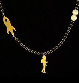 Bead necklace astronaut & rocket