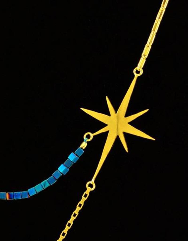 Rebels & Icons Samengestelde ketting ster en bollen - zilver