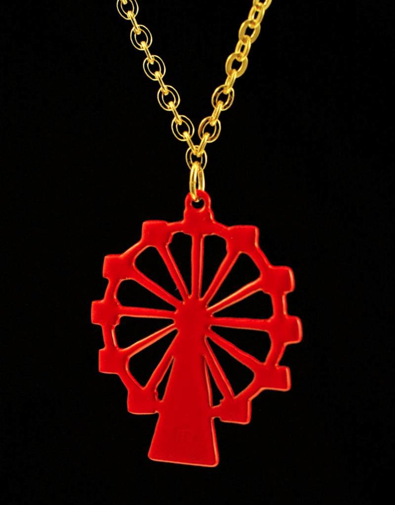 Rebels & Icons Necklace giant wheel - gold + red