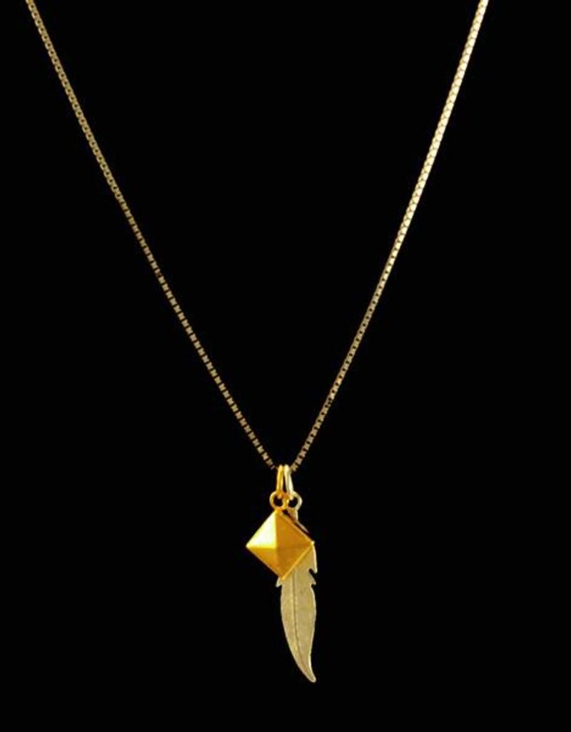 Necklace feather and stud