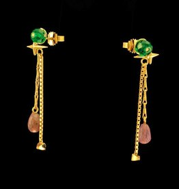 Post earrings pendant star & pyramid