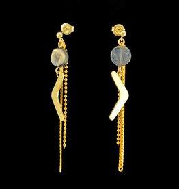 Post earrings pendant boomerang