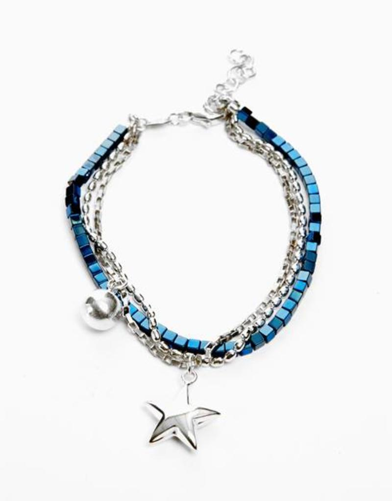 Rebels & Icons Armband ster & bol - zilver