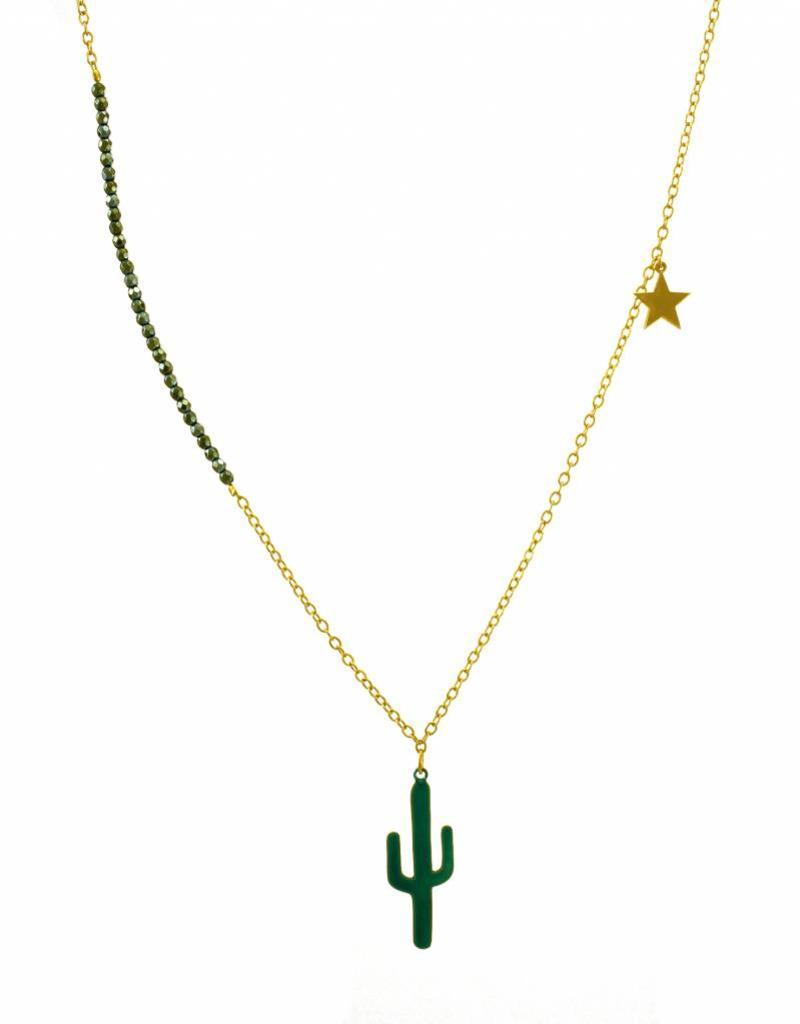 Ketting cactus & ster - transparant teal