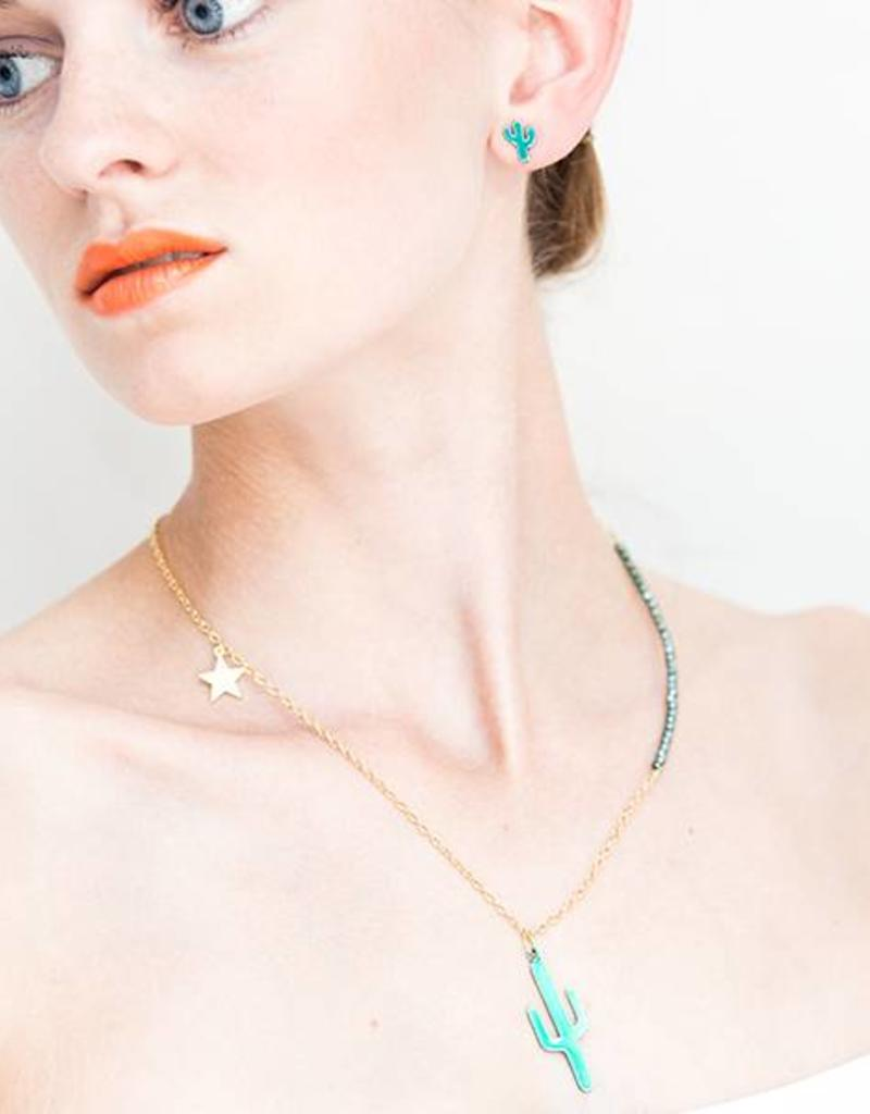 Rebels & Icons Ketting cactus & ster - transparant teal