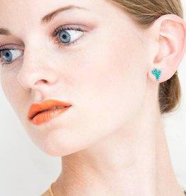 Post earrings cactus
