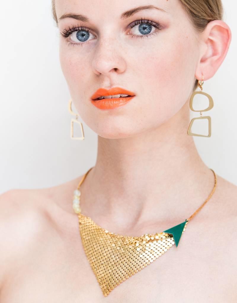 Rebels & Icons Korte ketting mesh - goud + transparant teal