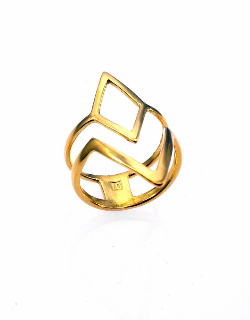 Rebels & Icons Ring diamond & V-shape - gold