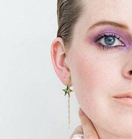 Post earrings pendant pointing star