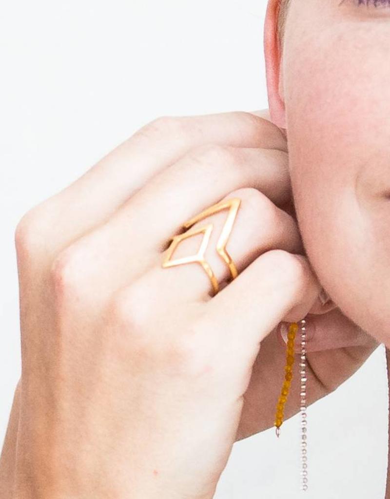Rebels & Icons Ring diamond & V-shape - silver