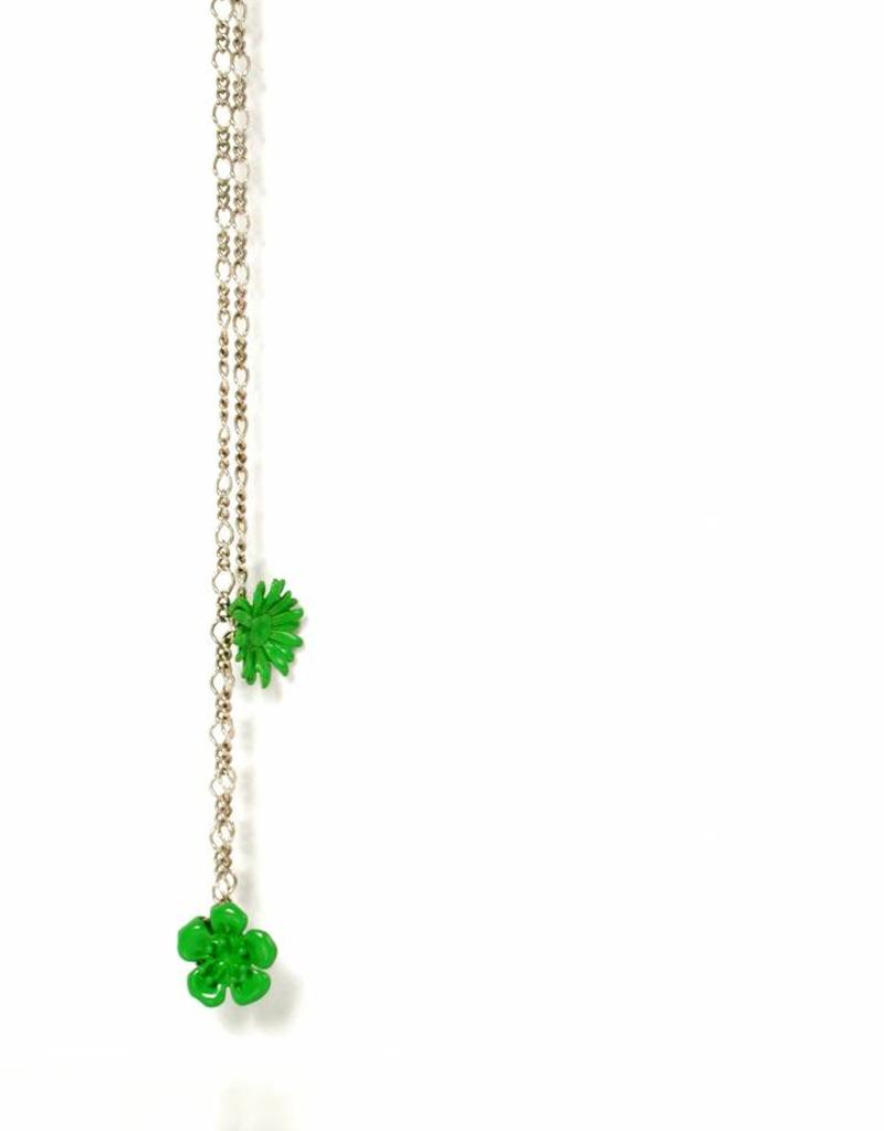 Rebels & Icons Necklace 2 flowers - green