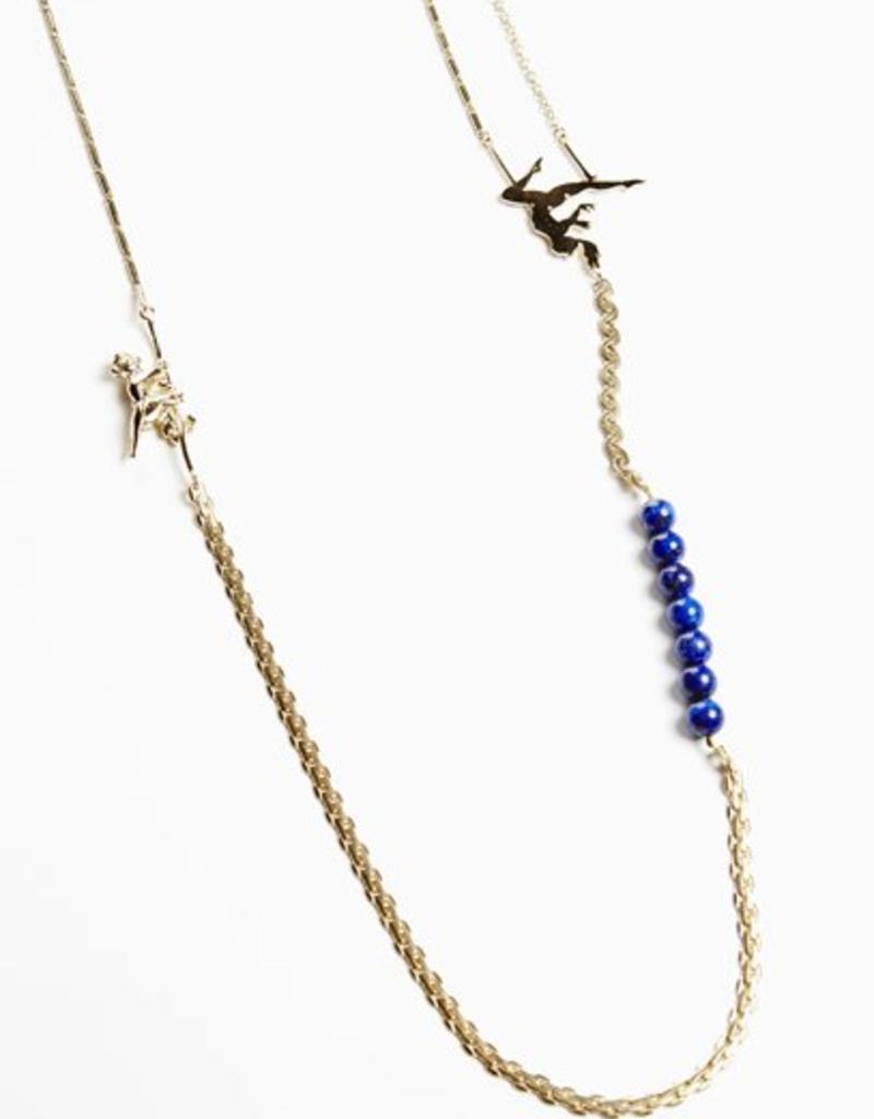 Long necklace trapeze - gold