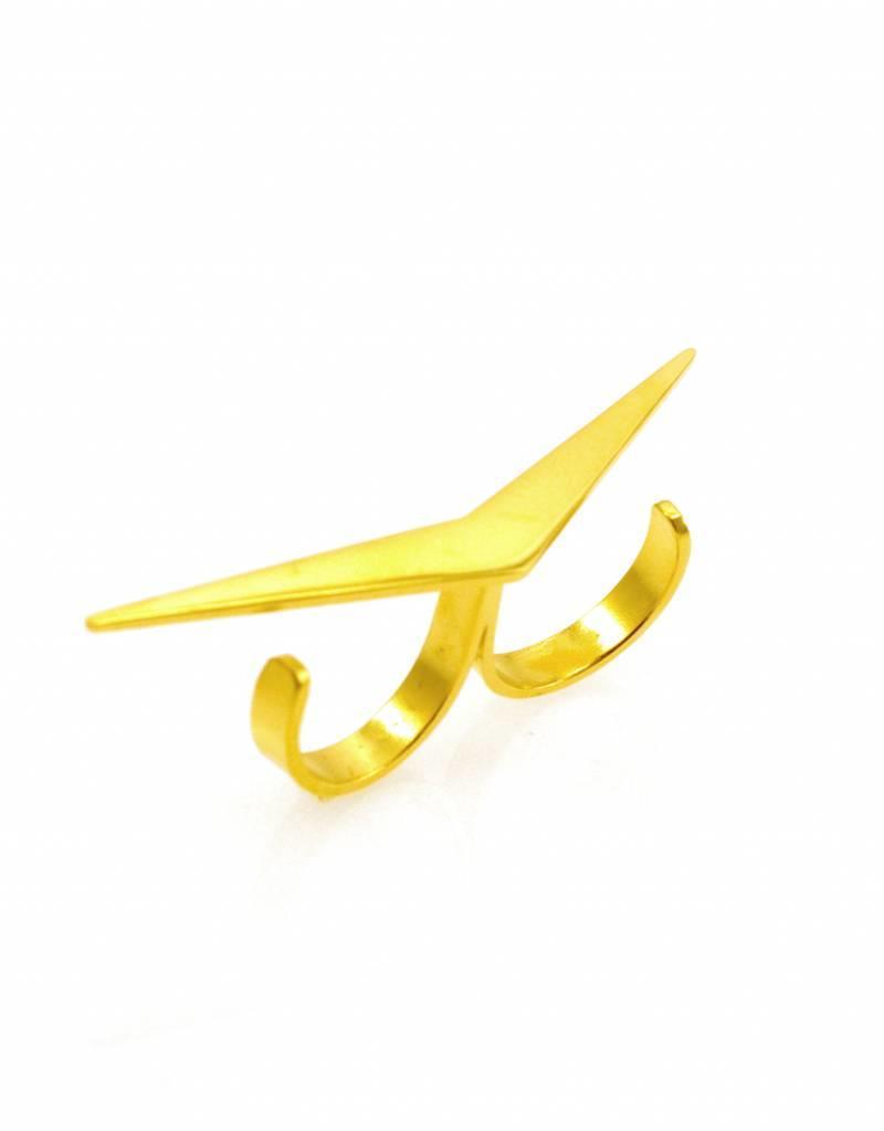 Dubbele ring boemerang - goud