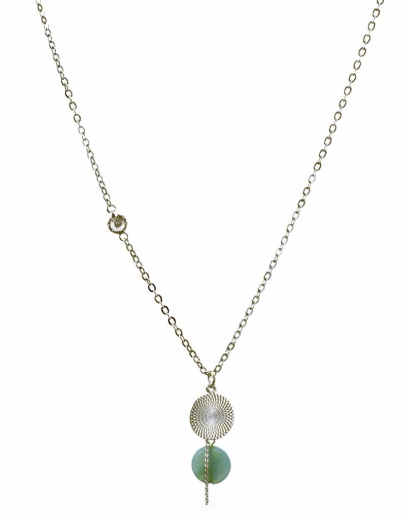Rebels & Icons Necklace disc & amazonite