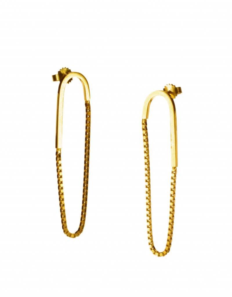 Rebels & Icons Post earrings pendant box chain & bar