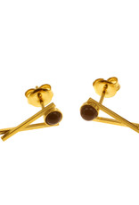 Rebels & Icons Post earrings Chopsticks & stone