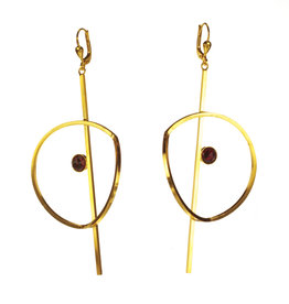 Rebels & Icons Earrings folded circle and stone