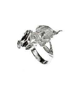 Rebels & Icons Ring frog & leaf - Silver