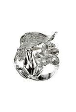 Rebels & Icons Ring frog & leaf - zilver
