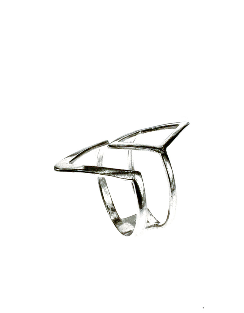 Rebels & Icons Ring diamond & V-shape - silver