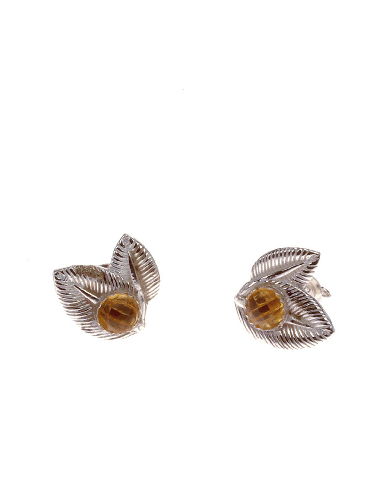 Rebels & Icons Post earrings 2 leafs & citrine.