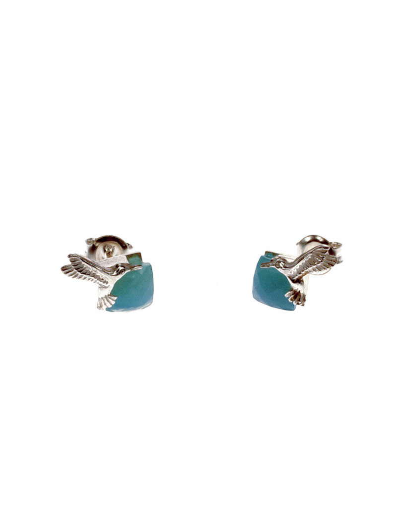 Rebels & Icons Post earrings hummingbird & chalcedony