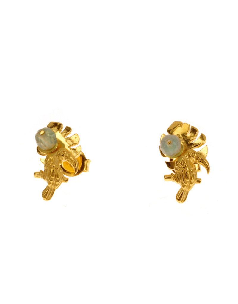 Rebels & Icons Post earrings monstera, toucan & agate